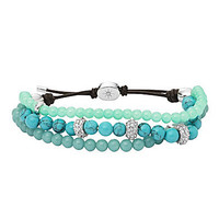 Fossil Turquoise 3-Row Beaded Bracelet | Dillards.com