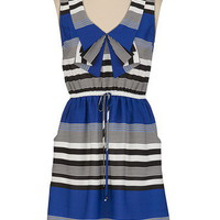 Striped Ruffle Front Dress with Pockets