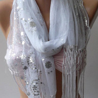 Tulle scarf  Elegant Scarf with Lace Edge.. White
