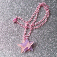 Space Pop - Jem Inspired Glitter Star and Lightning Necklace