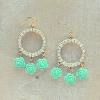 Pree Brulee - Mint Rose Circle Earrings