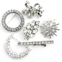 Vintage Rhinestone Brooch Lot - 6 Silver Tone Hollywood Regency Costume Jewelry Pins / Faux Diamond Destash