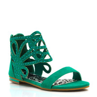 Embellished-Cut-Out-Sandals BLACK EMERALD NUDE - GoJane.com