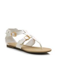 faux-leather-buckled-sandals BLACK SALMON WHITE - GoJane.com