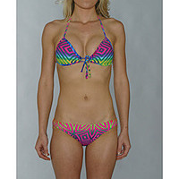 Island World Juniors Bright Tribal Halter/ Hipster Bikini  | Overstock.com