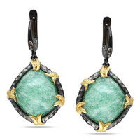 Miadora Sterling Silver and 12k Gold Green Aventurine Earrings | Overstock.com