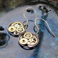 "Earrings Gearrings ""Gearrings Psi"" Elegant Recycled Mechanical Watch Gear Dangle Sterling Silver French Wire Hook Steampunk Earrings"