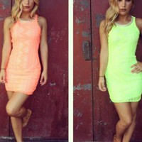 Neon Mini Dress with Cutout Back & Bead Embellishment