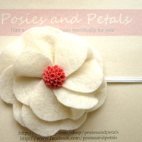 Cream Felt Flower Hair Clip with Rose Center by PosiesandPetals