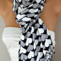 Heart  Scarf  Pashmina Scarf Women  Scarf  Shawl Scarf -  Cowl Scarf with Heart  - Multicolor - Gray White Black - fatwoman