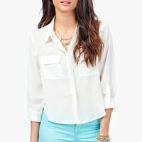 Crop 2 Pocket Chiffon Shirt
