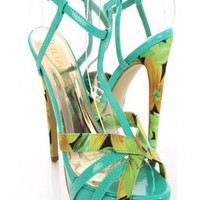 Green Patent Fabric Peep Toe Heels