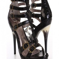 Black Reptile Texture Strappy Side Heels