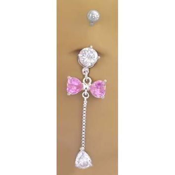 Cz & Pink Bow Long Dangle Belly button Navel Ring 14 gauge