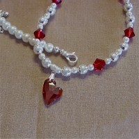 Red Devoted Heart Pendant and White Glass Pearl Necklace | pattysdreamdesigns - Jewelry on ArtFire