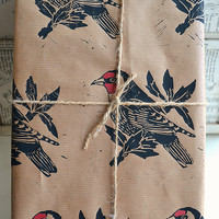 Hand Printed Goldfinch British Bird Gift by HandmadeandHeritage