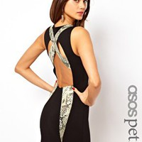 ASOS PETITE Exclusive Bodycon Dress With Leather Snake Look Panels at asos.com