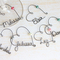 reserved listing (12) personalized wine glass charms