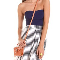 Striped Woven Tube Dress: Charlotte Russe