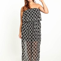 Sheer Grid Maxi Dress