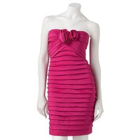 City Triangles Pleated Strapless Dress - Juniors