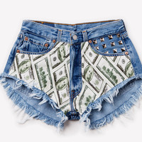 Swagg Vintage Studded Frayed Shorts