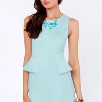 Kate's Day Out Light Blue Peplum Dress