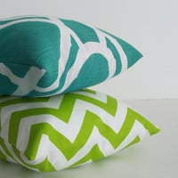 Turquoise and Green Pillows for Spring 16 x 16 by skoopehome