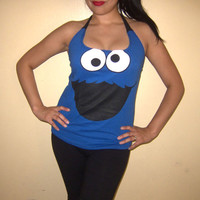 Sesame Street COOKIE MONSTER Womens Custom Diy Halter Top / Tshirt / Shirt / Tank