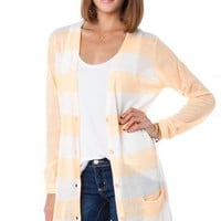 Lightweight Striped Cardigan in Peach - ShopSosie.com