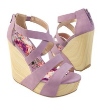 Qupid Women's CAFE13X Criss-cross X-Strap Wooden Wedge Platform High Heel Strappy Sandal Shoes, Lavender Purple PU Leather