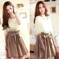 DARLING CHIFFON DRESS WITH BOW WAIST TIE