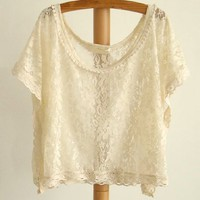 Beige Lace Crop Loose Top - OASAP.com