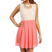 Pre-Order: Sand/Coral Lace Colorblock Dress