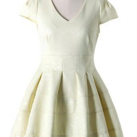 Floral Embossing Dress in Cream