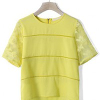Lace Mesh Sleeves Top in Yellow