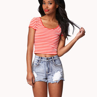 Striped Stretch-Fit Crop Top | FOREVER21 - 2039000760