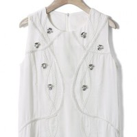 Diamond Cable Chiffon Top in White