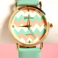 Chevron Time Mint Green Chevron Print Watch