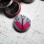 Pinback Button - Little One-Of-A-Kind Tulip With A Diamond, Pink Leaves & Hearts (drawn by hand, not a print)