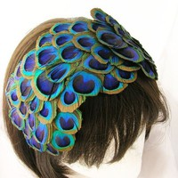 Peacock feather fascinator Bonnet style with by Pegasusmaiden