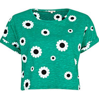 Green daisy print cropped t-shirt - crop t-shirts - t shirts / tanks / sweats - women