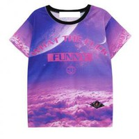 Purple Sky Print T Shirt