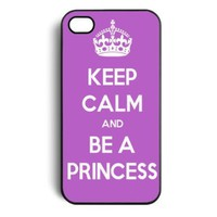 Purple Keep Calm and be a Princess Snap On Case Cover for Apple iPhone 4 iPhone 4s:Amazon:Cell Phones & Accessories