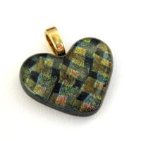 Dichroic Glass Heart, Glass Heart Jewelry - Love of Mine  by mysassyglass