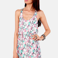 Caught Off Garden Neon Floral Print Dress