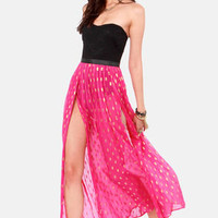 Gypsy Junkies Oceana High Slit Silk Fuchsia Maxi Skirt
