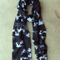 Sparrows in Flight Noir Scarf [2264] - $16.00 : Vintage Inspired Clothing & Affordable Summer Frocks, deloom | Modern. Vintage. Crafted.