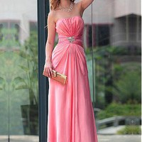 [147.99] In Stock Lovely A-line Strapless Sweetheart Full Length Evening Dress With Beads And Pleats - Dressilyme.com