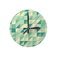 Triangle Pattern Round Wall Clock from Zazzle.com